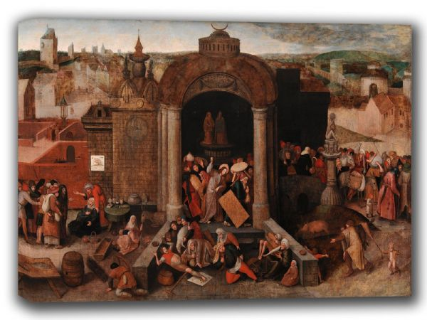 Bruegel the Elder, Pieter: Christ Driving the Traders from the Temple. Fine Art Canvas. Sizes: A4/A3/A2/A1 (002003)